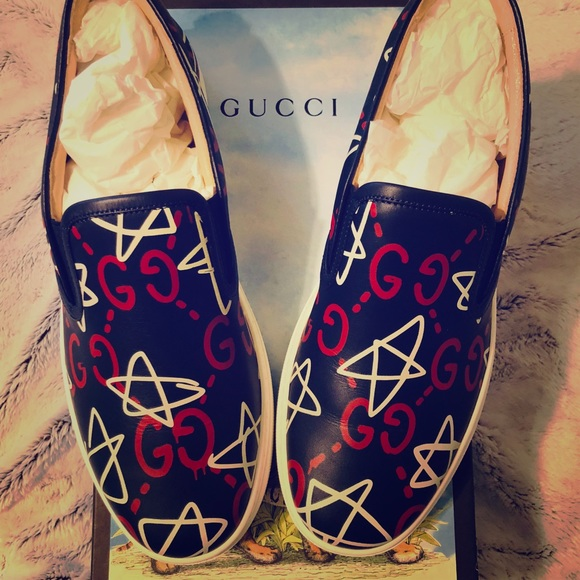 81b265589e3 GucciGhost Navy Red White Stars Slip on Sneakers. NWT. Gucci.  795  795.  Size